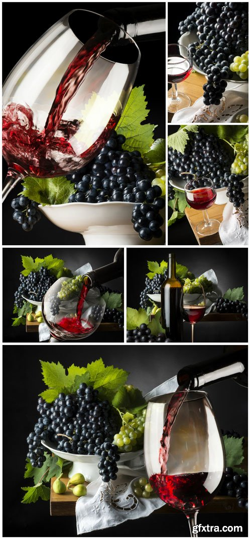 Glasses with wine, grapes stock photo