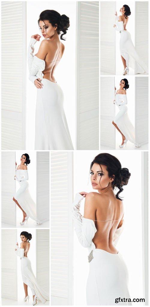 Girl in sexy white dress stock photo