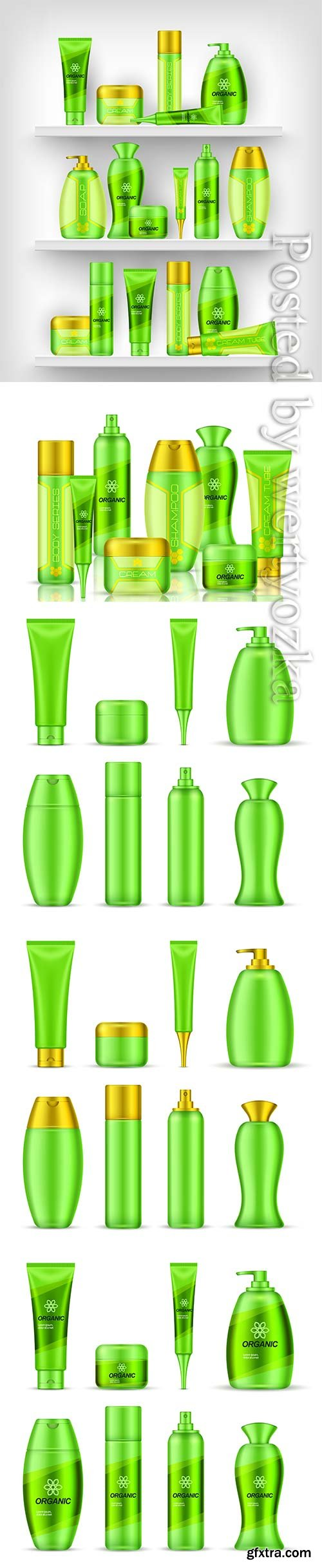 Realistic cosmetic products advertising template