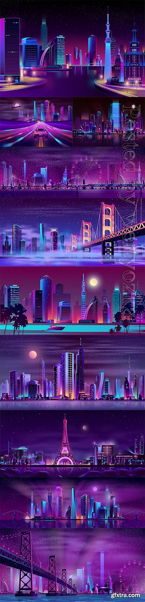 Night streets cartoon vector background