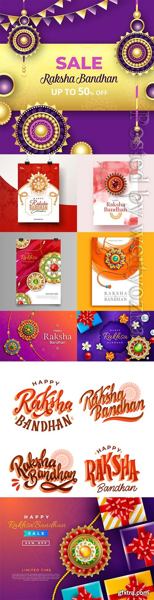 Flat raksha bandhan greeting vector card