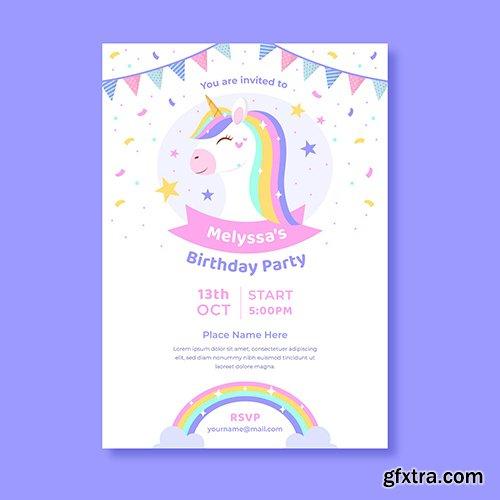Unicorn birthday invitation flyer
