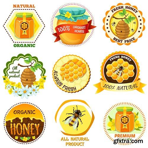 Honey emblem set with descriptions natural organic fresh honey vector illustration