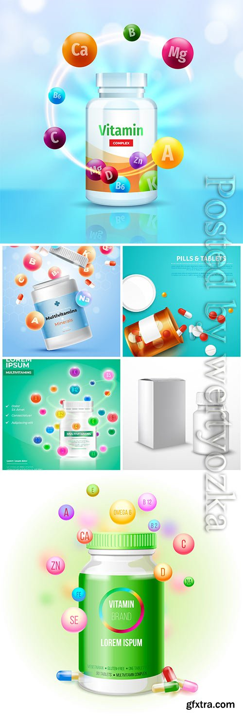 Vitamins and pills in vector