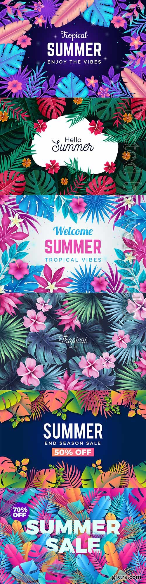 Summer tropical vector background