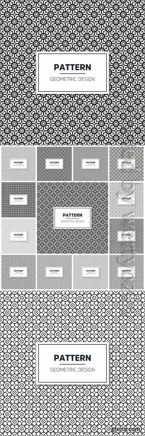 Seamless geometric black and white vector pattern