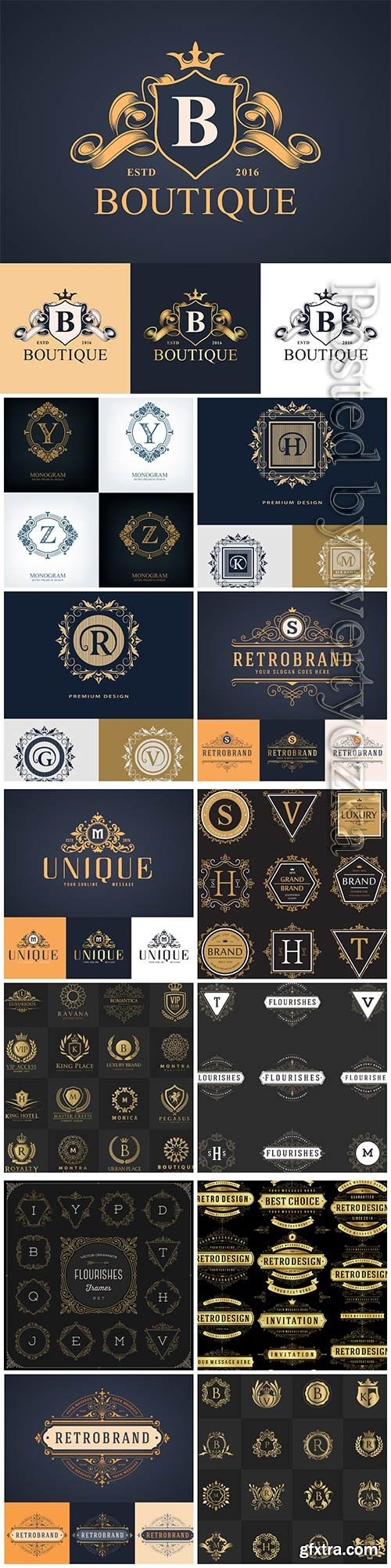 Logos, badges and design elements in vector