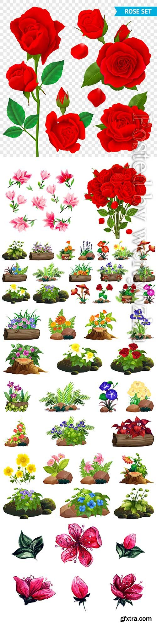 Flowers and floral arrangements in vector