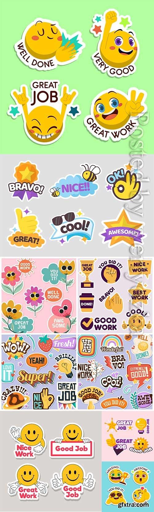 Cartoon good job and great job sticker collection