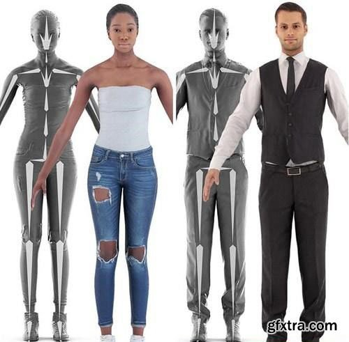 3D Rigged People Scanned 3D Model