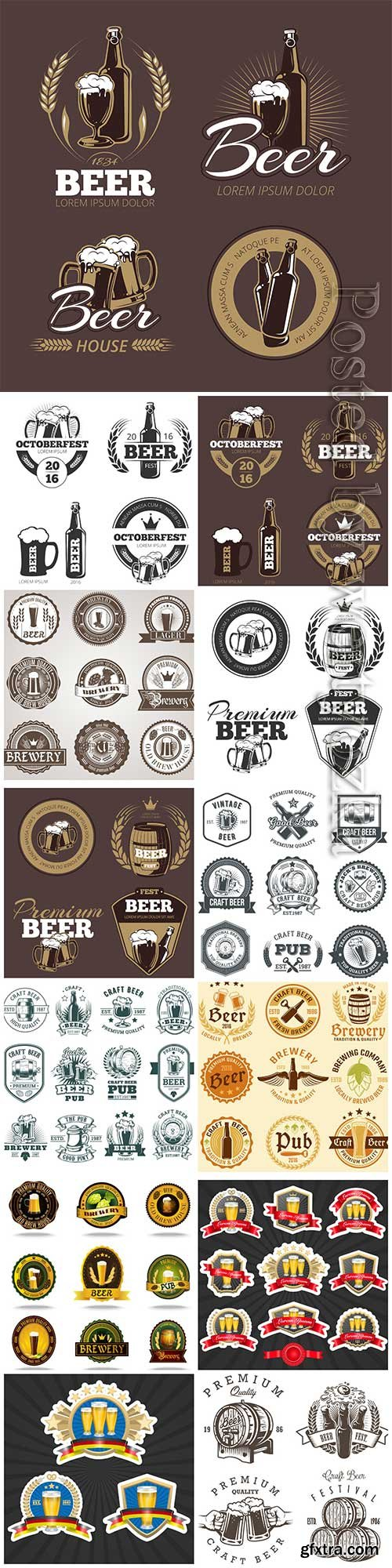 Beer label templates for beer house, brewing company, pub and bar