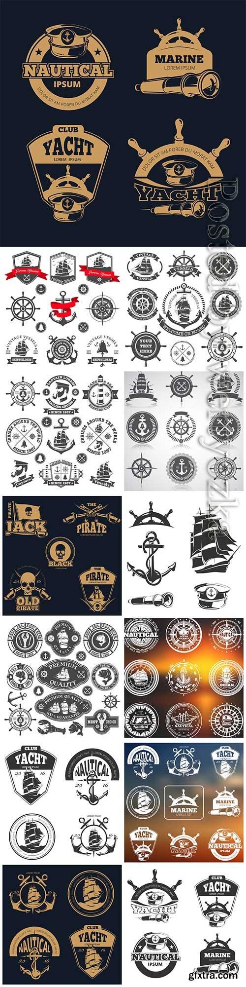 Set of nautical emblems, labels and esignaed elements