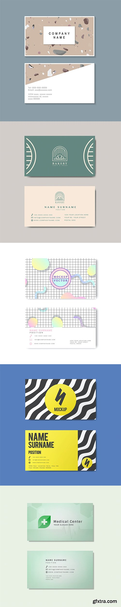 Set of business card template