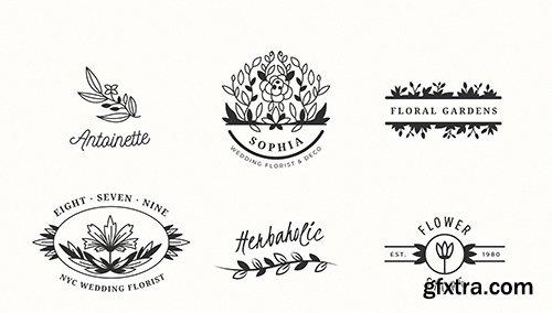 Wedding florist logo templates collection