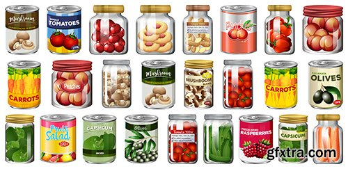 Set of different canned food jars