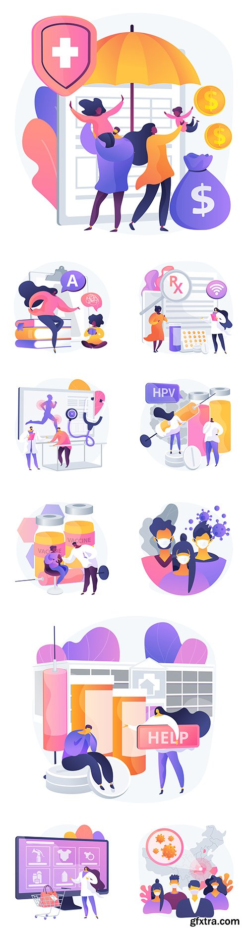 People and medicine flat and gradient design illustrations