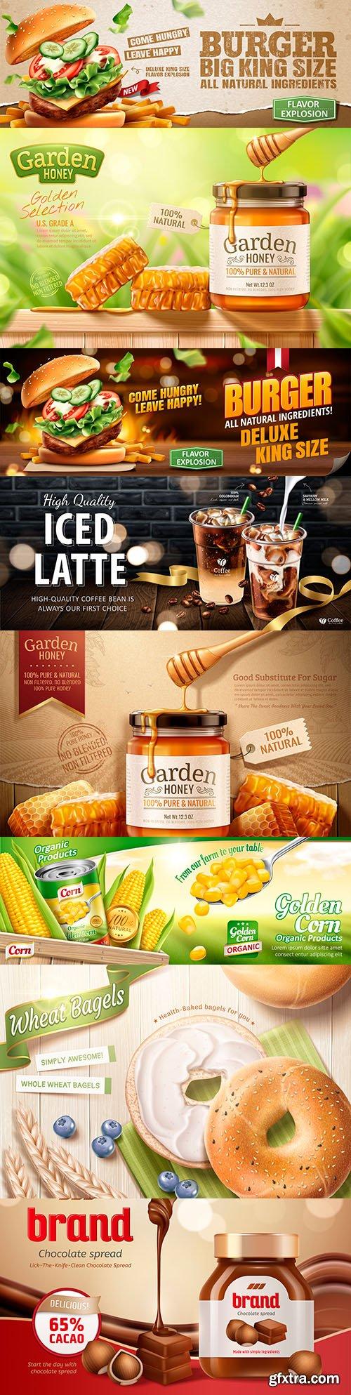 Tasty hamburger, garden honey and coffee advertising banner design
