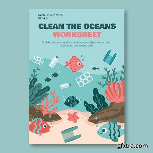Creative ocean environment worksheet flyer