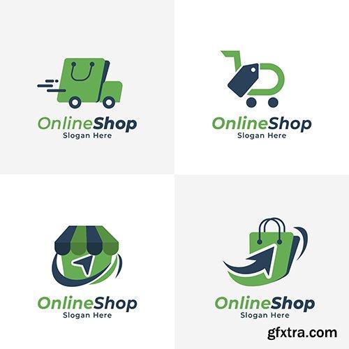 Flat e-commerce logo collection