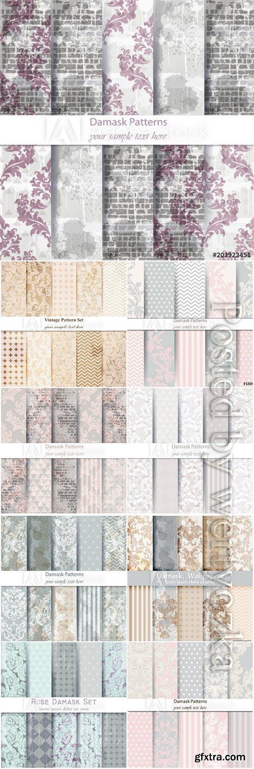 Damask patterns set vector