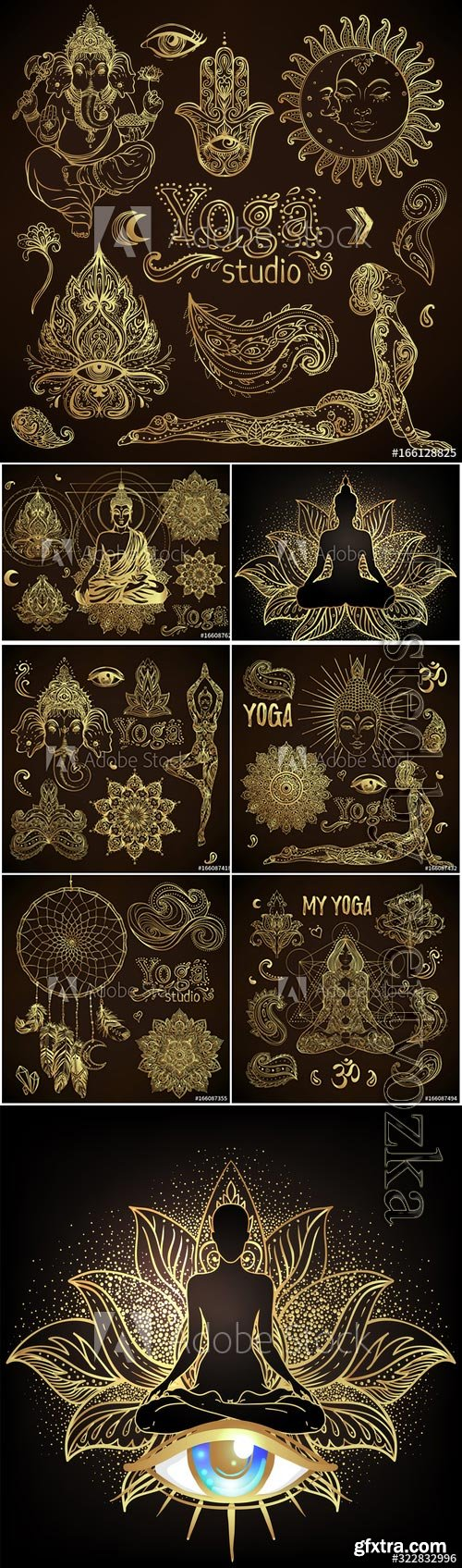 Yoga, meditation vector illustration set, hindu paisley motifs, Buddha silhouette