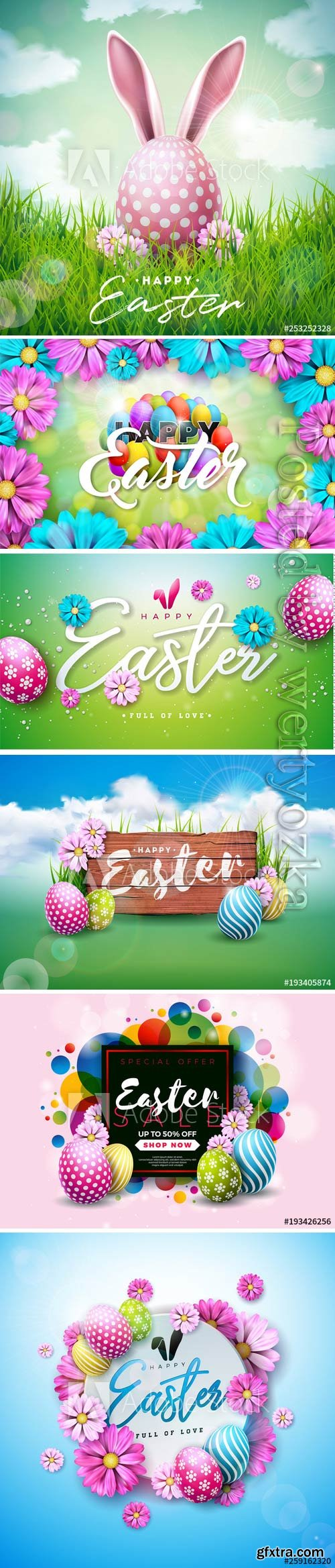 Happy Easter holiday with painted egg, rabbit ears and flower