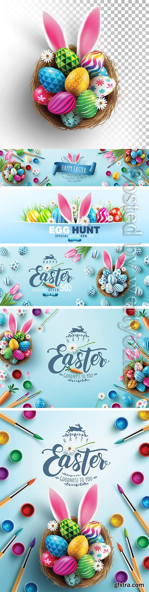 Easter poster and banner vector template with Easter eggs