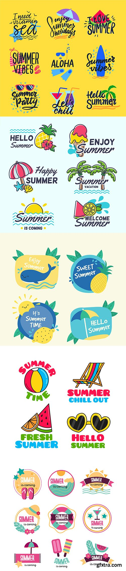 Colorful hand-drawn summer badge collection