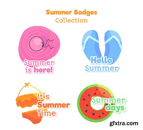 Hand-drawn summer badge collection