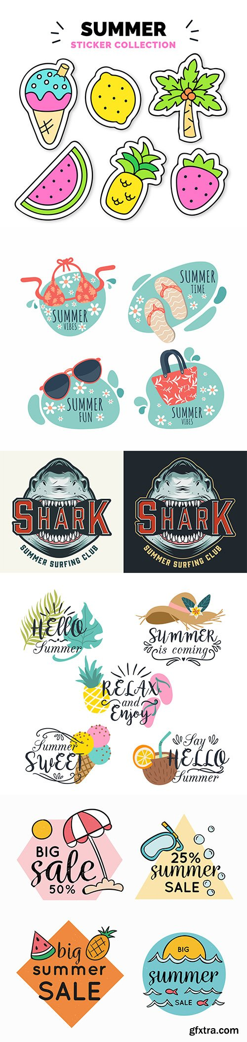 Colorful hand-drawn summer badge collection and surfing club logo