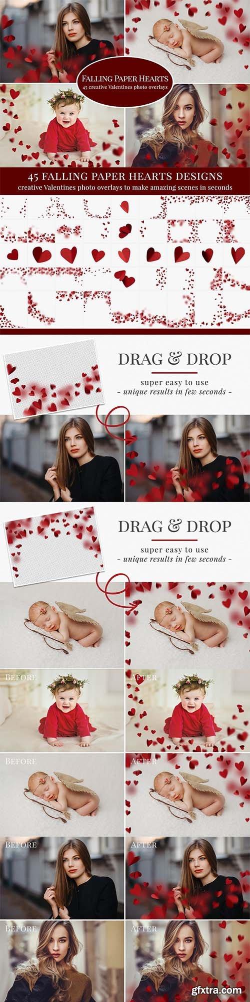 CreativeMarket - Falling Paper Hearts photo overlays 5791182