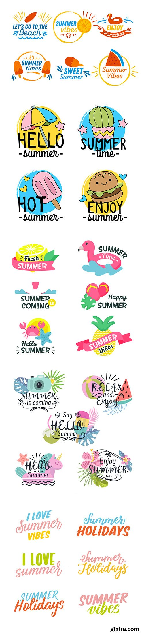 Colorful hand-drawn summer badge collection Vol2