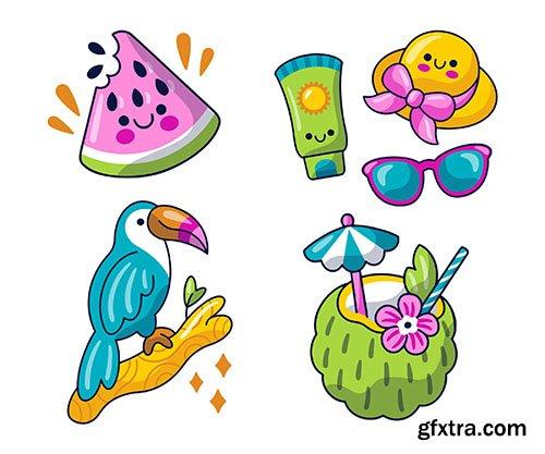 Kawaii summer stickers pack