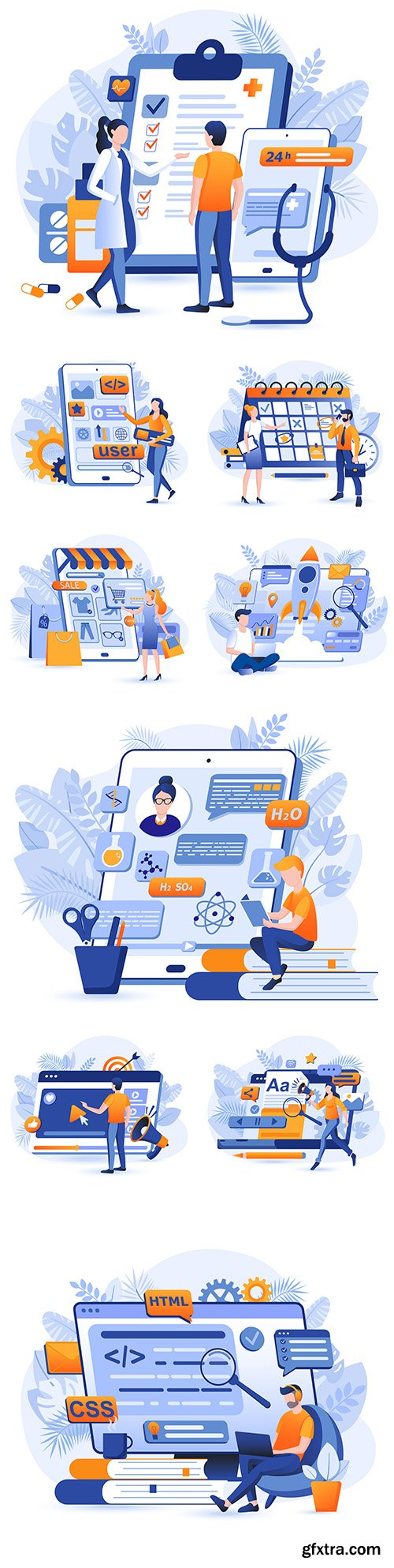 Business planning and online store flat design illustration concept