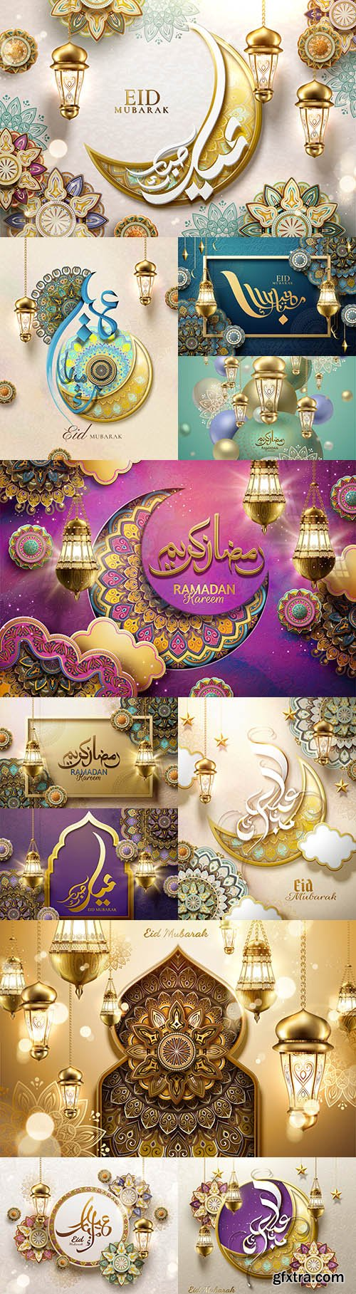 Ramadan Kareem banner with mosque and lantern background 2