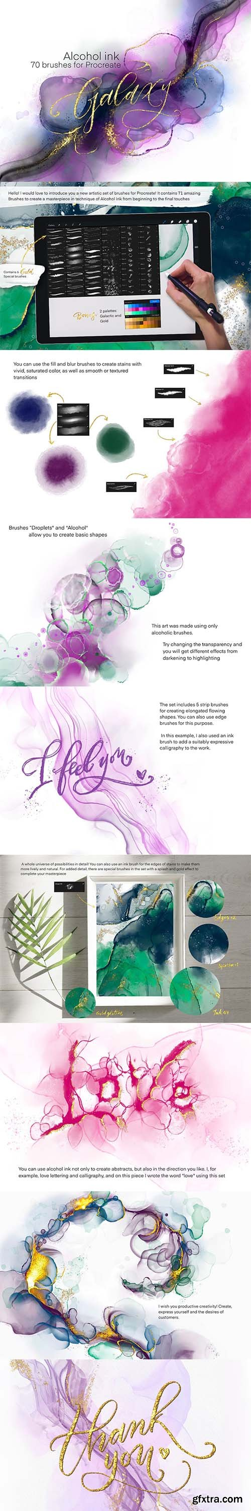 CreativeMarket - Galaxy Alcohol Ink Brushset 5997008