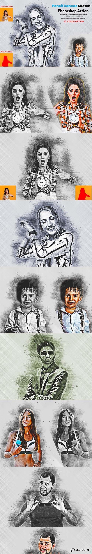 CreativeMarket - Pencil Canvas Sketch PS Action 5911710