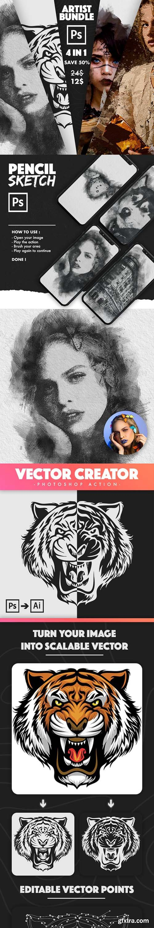 GraphicRiver - 4 in 1 Artist Bundle Photoshop Actions 31038403