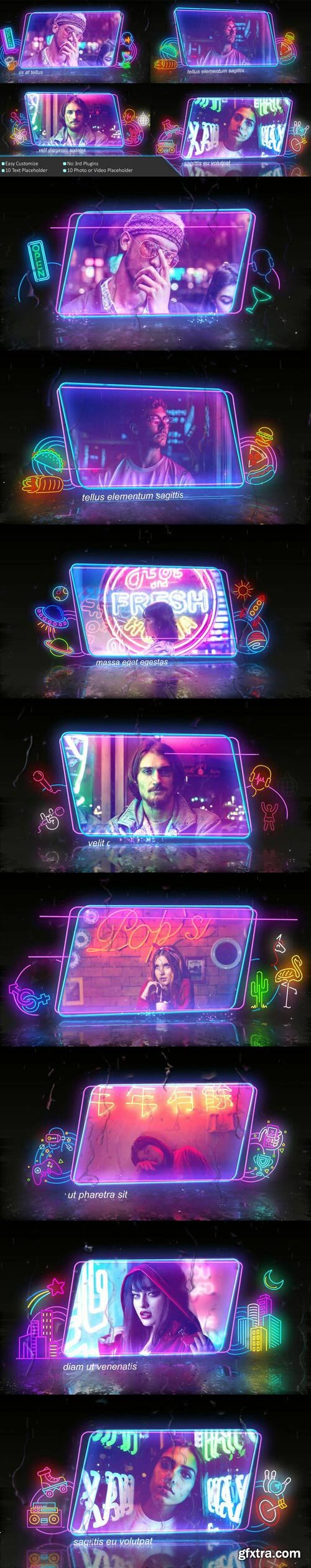 Videohive - Neon Frame In The Rain Photo Slide - 30262952