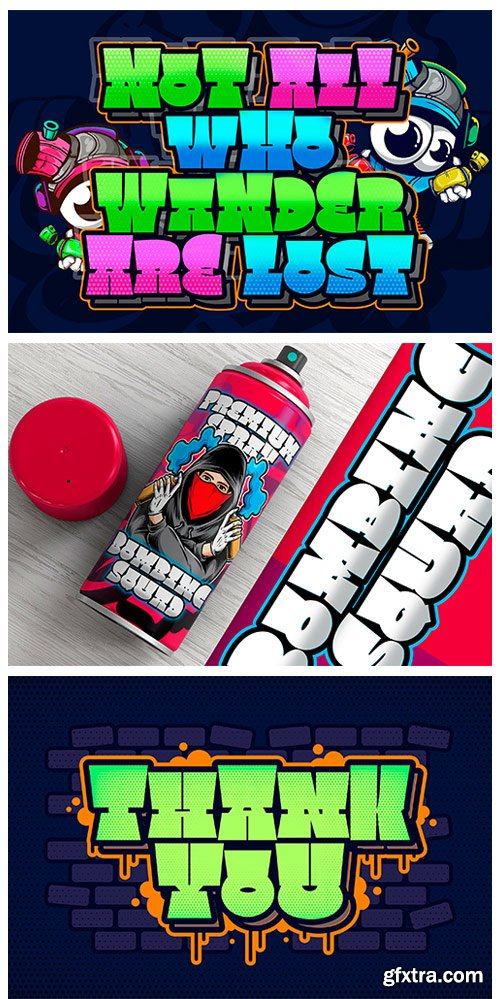 FontBundles - Square Spray Graffiti Font 1314287