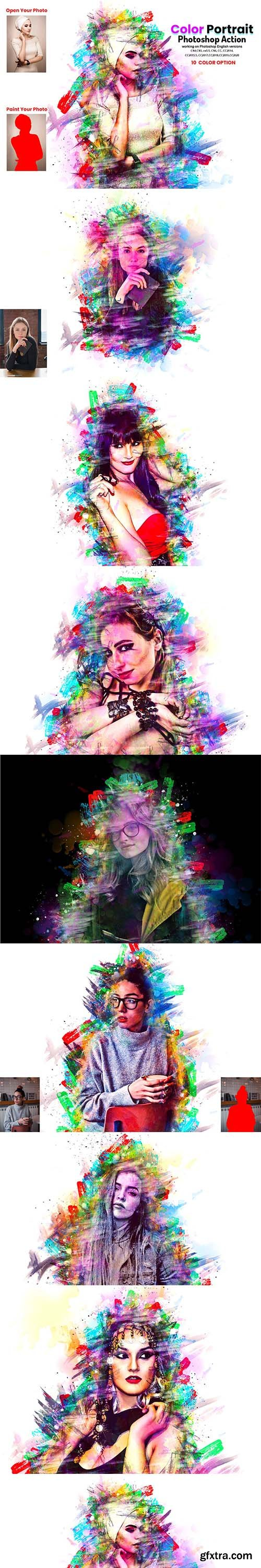 CreativeMarket - Color Portrait Photoshop Action 5919419