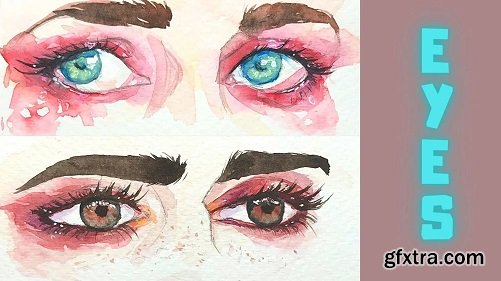 Learn to Sketch & Paint Colorful Dramatic Eyes in Watercolor