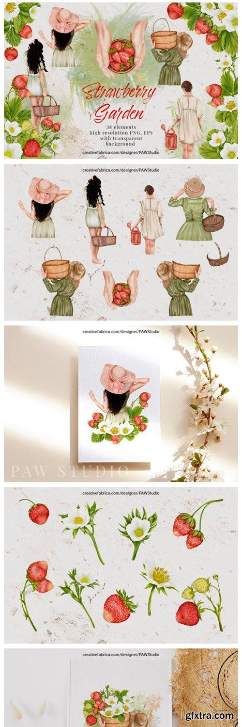 Summer Strawberry Clipart Girls Garden 10830965