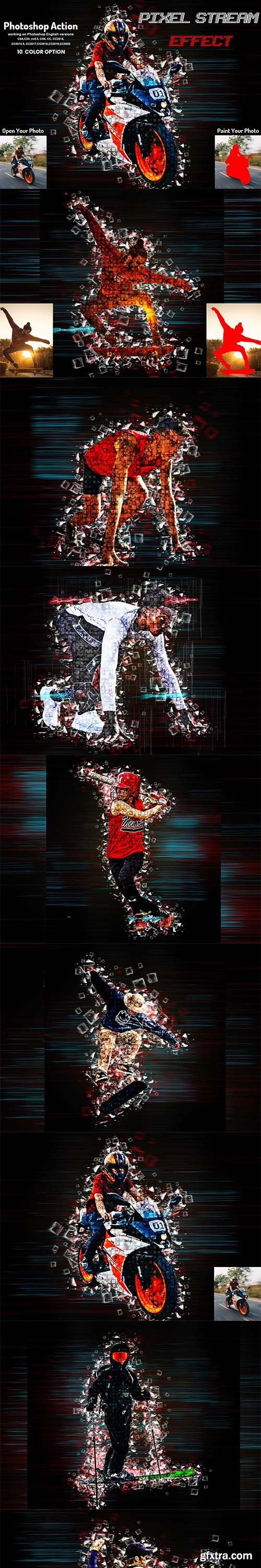 CreativeMarket - Pixel Stream Effect Photoshop Action 5950260