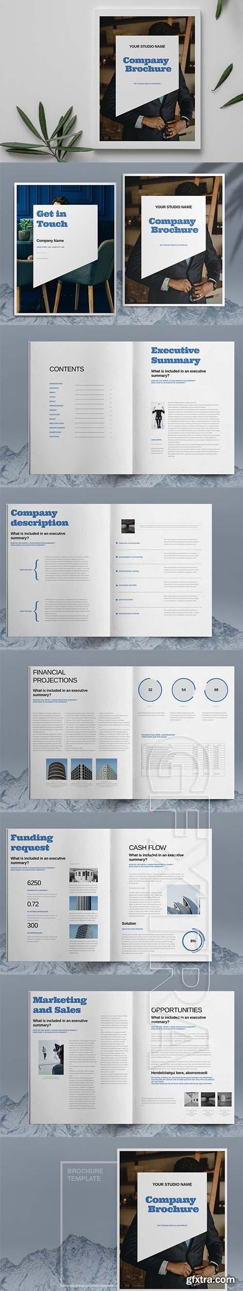 CreativeMarket - Blue Business Brochure Template 6083778