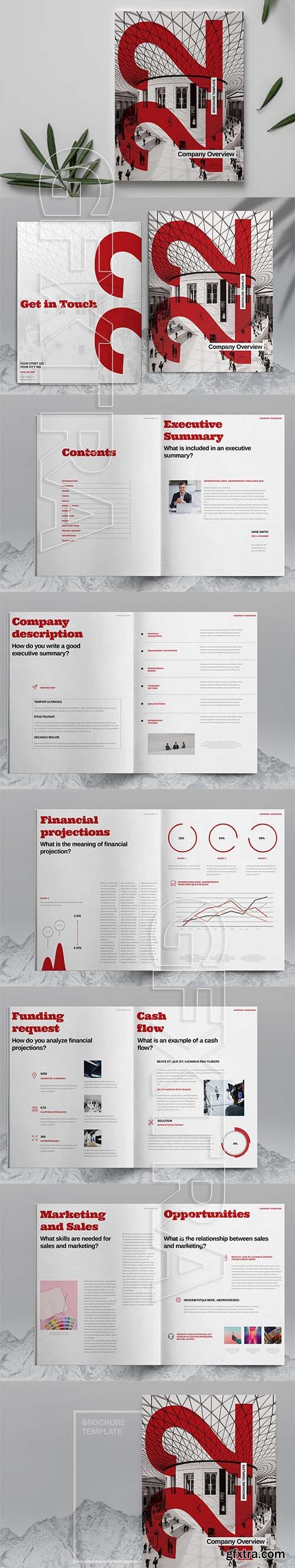 CreativeMarket - Red Brochure Layout Template 6084270