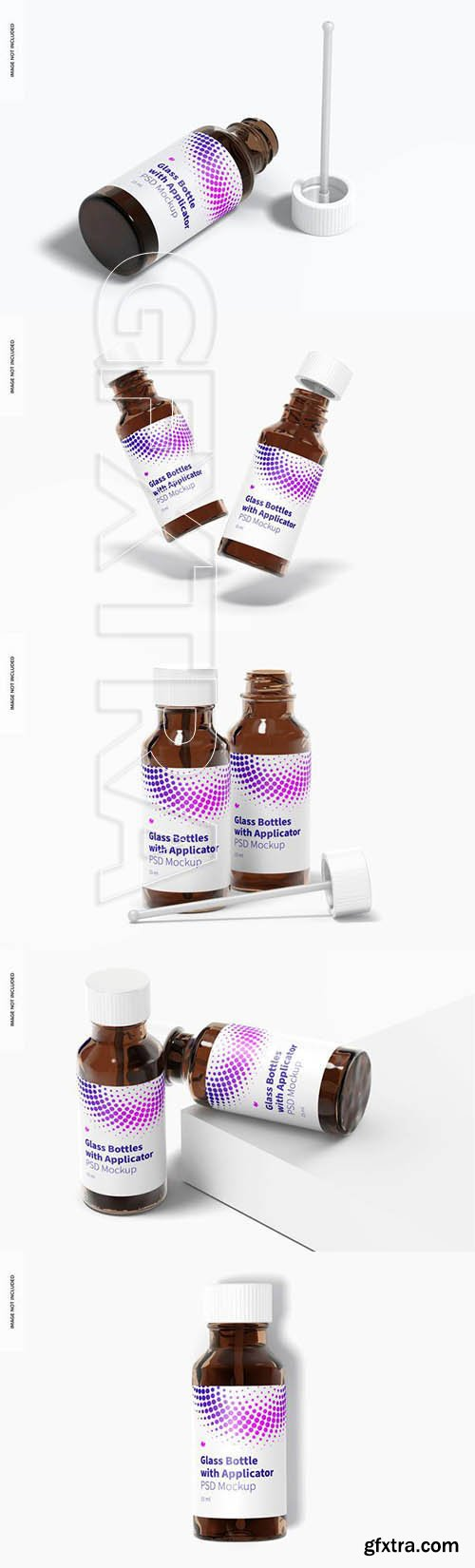 Round glass bottles with applicator rod mockup