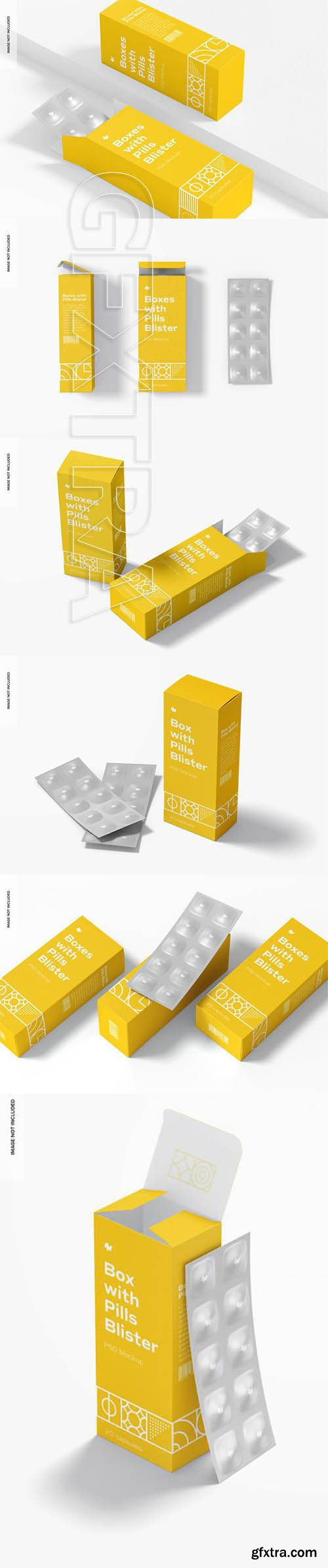 Boxes with pills blister set mockup