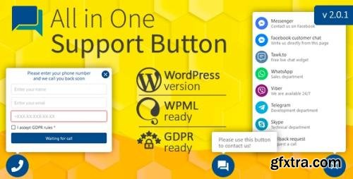 CodeCanyon - All in One Support Button v2.0.4 + Callback Request. WhatsApp, Messenger, Telegram, LiveChat and more... - 22266189 - NULLED