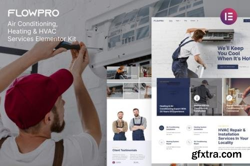 ThemeForest - FlowPro v1.0.0 - Air Conditioning Heating & HVAC Services Elementor Template Kit - 31772541